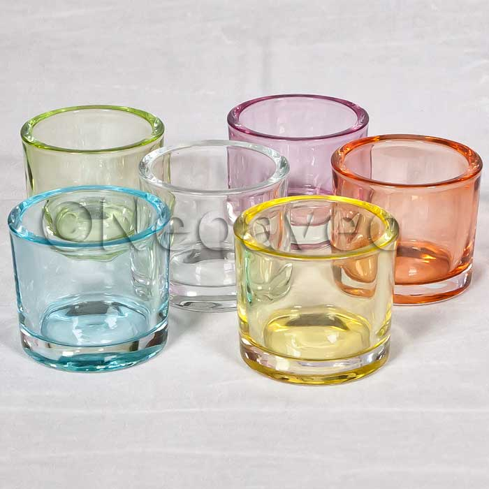 Heavy Kerzenglas Farbig Gross Glaswindlicht Aus Dickem Glas In